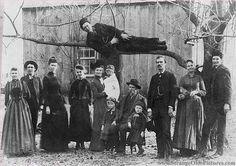 Weird Family Photo Victorian Era Man in Tree