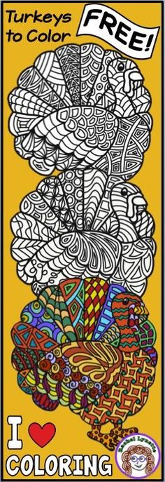 Kids and adults will love coloring these free turkeys! Perfect for Thanksgiving, classroom decor, indoor recess or just for fun! And they are free!