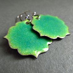 Green speckle enamel earrings enamel on by CinnamonJewellery