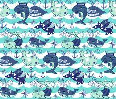 NAUTICAL BLUE WHALES fabric by bluevelvet on Spoonflower - custom fabric