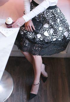 ann taylor petite black white lace skirt spring 2017 fashion