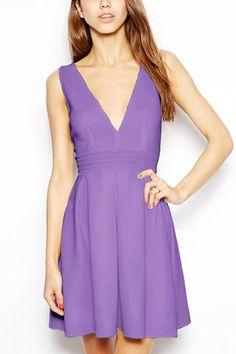 Light+Purple+High+Waist+Pleated+Casual+Dress+#Light+#Dress+#maykool