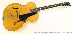 Vega C56 Archtop Guitar Natural, 1940 Full Front View Archtop Guitar, Acoustic Guitar, Cool Electric Guitars, Old Names, Epiphone, Old Things, Natural, Acoustic Guitars, Nature