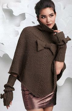 poncho and fingerless gloves knitting pattern