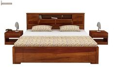 Buy Ferguson Hydraulic Bed (King Size, Honey Finish) Online in India - Wooden Street Wooden Bed With Storage, Bed Designs With Storage, Bed Storage, King Size Storage Bed, Bedroom Bed Design, Bedroom Furniture Design, Bed Furniture, Farmhouse Furniture, Wooden Queen Bed Frame