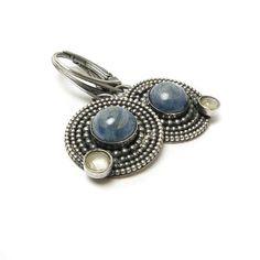 Silver metalwork earring , gemstone fine jewelry , sterling blue earring , retro earring on Etsy, $70.00