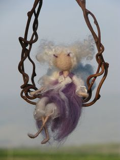 Purple fairy on a twig  needle felted waldorf by Made4uByMagic, $55.00