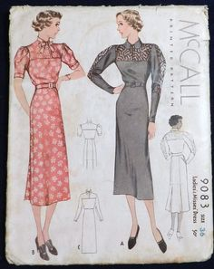 McCall 9083 Lace Inset Dress 1936 contrasting yoke & sleeve section option, printed uncut FF B36 W30 H39 Dress with self fabric belt & rear inverted skirt pleats has 3 sleeve options of short gathered with cuffs,plain long,or 4-section sleeve with contrast. sld 24.5+2 10bds 6/3/15