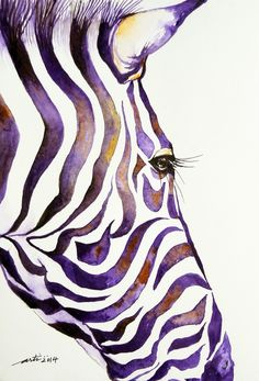 ARTFINDER: Purple Stripes Zebra by Arti Chauhan - A stylish Zebra face painted in an impressionistic watercolor. Its a modern, contemporary artwork. Zebra stripes always make a striking statement.I love intr...