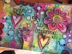 Acrylics, dylusions spray, stabilo pencil, gesso, crayons and a water brush. Tried to be completely random and not plan or think ! I like her creativity! Kunstjournal Inspiration, Art Journal Inspiration, Journal Ideas, Mixed Media Journal, Mixed Media Art, Art Journal Pages, Art Journals, Artist Journal, Bible Journal