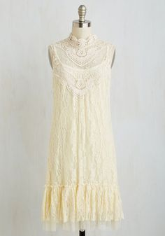 The Frill of it All Dress - Mid-length, Knit, Lace, Solid, Lace, Wedding, Daytime Party, Bride, Boho, French / Victorian, Shift, Sleeveless, Cream, Vintage Inspired, 70s, 20s