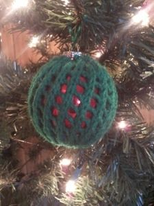 Custom hand knit Christmas ornament cover