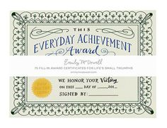 everyday achievement certificates