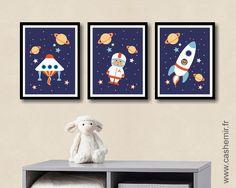 Affiche pour enfant garçon illustration poster pour chambre d'enfant cadeau naissance anniversaire décoration fusée réf.2 : Décoration pour enfants par cashemir