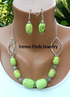 """Handcrafted Green Chalk Turquoise Necklace and Earring Set chalk turquoise (dyed / stabilized), light green, Silver tone metal components and spacers ,measures 17""""inches plus 2"""" inch extender,Lobster clasp, matching Earrings 2"""" inches in length"""