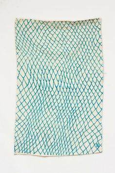 Fine Net by ktaadn, blue printed linen/cotton cloth