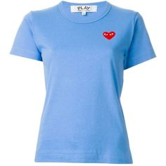 Comme Des Garçons Play Embroidered Heart T-Shirt (1.716.175 VND) ❤ liked on Polyvore featuring tops, t-shirts, blue, cotton t shirt, play comme des garcons t-shirts, embroidered cotton top, embroidered t shirts and embroidery tops