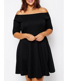 Sexy Off-The-Shoulder Half Sleeve Black Plus Size Women's Dress Plus Size