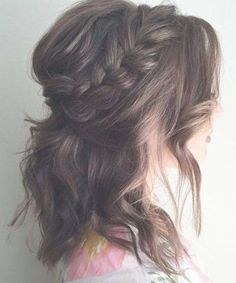 25 Special Occasion Hairstyles Messy+Half+Updo+With+A+Braid Wedding Hairstyles For Medium Hair, Messy Wedding Hair, Romantic Wedding Hair, Wedding Hair And Makeup, Bridesmaid Hairstyles, Wedding Updo, Shaved Side Hairstyles, Messy Hairstyles, Brunette Hairstyles