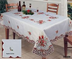 Christmas Embroidered Candle Tablecloth With Napkins BEIGE Creative Linens Christmas Table Cloth, Christmas Decorations, Table Decorations, Holiday Decor, Christmas Cross, Christmas Bells, Beige Background, Cutwork, Poinsettia