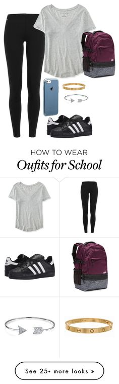 """I hate school "" by gemini-lady on Polyvore featuring Polo Ralph Lauren, Aéropostale, adidas Originals, Cartier and Bling Jewelry"