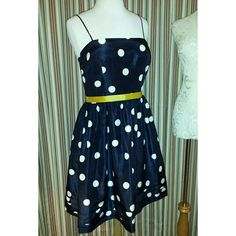 """VINTAGE HP Jessica Howard Navy Polka Dot Dress Vintage 80s(?) Jessica Howard Navy and White Polka Dots Dress This dress deserves to be worn! There is a beautiful shimmer to the material that is hard to show. Fully lined in yellow with a yellow grosgrain belt. Includes extra lining in the bra area. Spaghetti straps, full skirt, 100% polyester. Back zipper with hook and eye closure. Flat waist: 16""""; flat chest 18.5""""; front length w/o straps: 33""""; back length: 30"""" Jessica Howard Dresses Midi"""