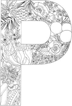 Letter P With Plants Coloring Page From English Alphabet Category Select 24652