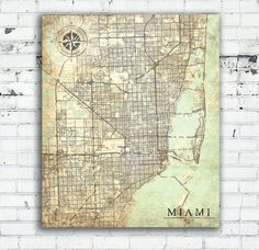 Miami Florida Vintage map Vintage Antique map Miami Florida Art Print City poster USA Vintage retro map Miami Florida United States America