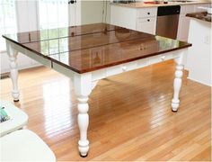 Six coats of gloss varnish gave this amazing surface on a sanded and restained tabletop.