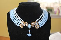 Miriam Haskell 5 strands Blue Glass beads necklace