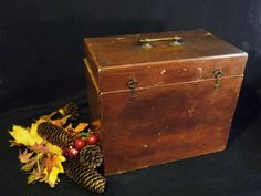 Vintage Cherry WOOD BOX  Plush lined  Great patina  by Greentiques, $64.00