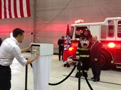 JetBlue Event for Blue's Bravest Reveal at JFK Hanger!  NYPD Fire Truck as Photo Backdrop!