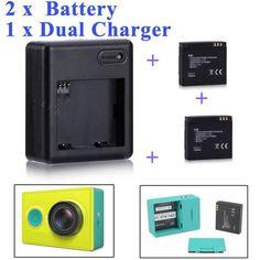 High Quality Xiaomi yi battery 2PCS 1010mAh xiaoyi battery+xiaoyi dual charger For xiaomi