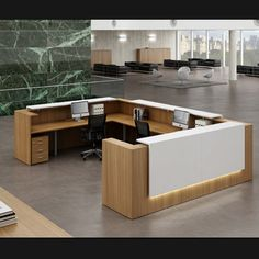 Office Furniture, modular Office Furnitures Fit Out Companies in Gurgaon (India). You can also get Office Chairs Online, Modern Office Furniture - Finegrace Reception Desk Design, Reception Counter, Office Reception, Office Entrance, Design Entrée, Lobby Design, Bureau Design, Dental Office Design, Office Interior Design