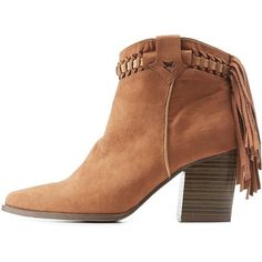 Charlotte Russe Camel Qupid Contrast-Weave Fringe Western Booties by... ($46) ❤ liked on Polyvore featuring shoes, boots, ankle booties, camel, cowboy boots, short cowgirl boots, fringe cowgirl boots, short fringe boots and western style boots