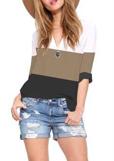 Blusa manga larga causal-bloque de colores 13.72