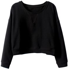 Long-sleeves Solid-color Cropped Sweatshirt ($18) ❤ liked on Polyvore featuring tops, sweaters, shirts, jumpers, black long sleeve top, crop shirts, crop top, cropped long sleeve shirt and black crop top
