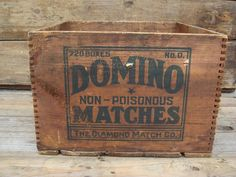 Rare Antique Vintage Wood Crate Domino Matches by PageScrappers Vintage Wood Crates, Old Wooden Boxes, Old Boxes, Wooden Crates, Wooden Stools, Wooden Signs, Pallet Crates, Old Crates, Vintage Stoves