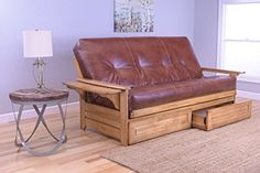 Rosemount Full Size Futon and Drawer Set, Honey Oak Wood with Bonded Leather Innerspring Mattress, Saddle