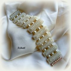 White Pearl/Seed Bead Bracelet Cuff Bracelet Bridal by Szikati