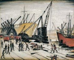 Cranes and Ships,  Glasgow Docks by L. S.  Lowry (1947)