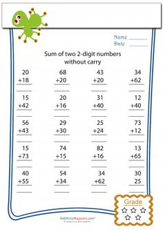 Simple practice sheet to build addition skills; No carrying the one in these problems! Get it now!AuthorLucas Andres Reply Share With Friends