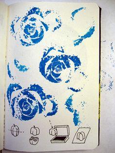 Make prints using an ink pad & cut vegetables.