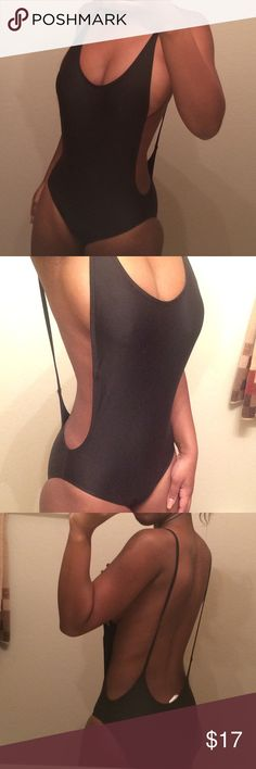 One piece bathing suit Black with two straps and it's like a body suit Swim One Pieces