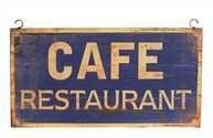 "Creative Co-Op - 30""L x 17-1/2""H Metal ""Café Restaurant"" Wall Décor"