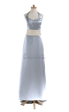 #bridesmaid Halter Long Silver Satin Vintage Bridesmaid Dress BDS-CA095