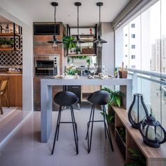 45 Convenient Balcony Kitchen Ideas - Unique Balcony & Garden Decoration and Easy DIY Ideas Bar Unit, Kitchen Benches, Balcony Design, Condo Living, Small Dining, Home Decor Furniture, Home Accessories, Kitchen Design, Kitchen Ideas