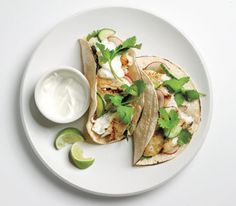 Fish tacos with cucumber relish