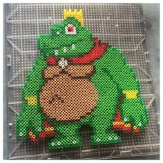 King K. Rool - Donkey Kong perler beads by knoxy_beads Pearler Bead Patterns, Perler Patterns, Pearler Beads, Fuse Beads, Nerd Crafts, Fun Crafts, Cartoon Caracters, Minecraft Pixel Art, Bros