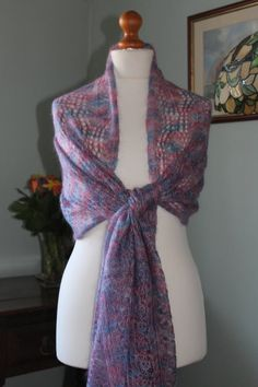 Large, hand painted, kid mohair and silk wrap in leaf design in shades of pink, blue and purple